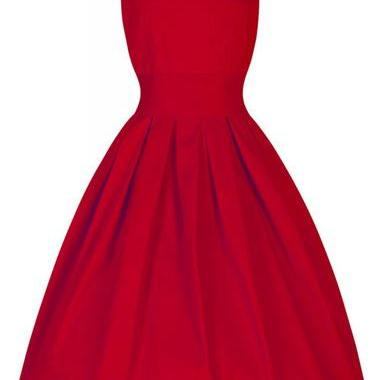 Red Round Neck Sleeveless Midi Skat..