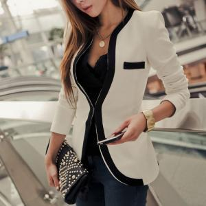 Contrast Color Slim Fit Business Su..