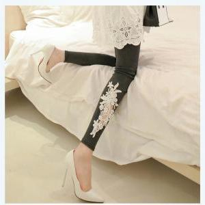 Ms leggings lace female show thin o..