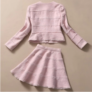 Pink collar cloth coat + skirt outf..