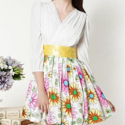 Stitching Daisy Jacquard Dress