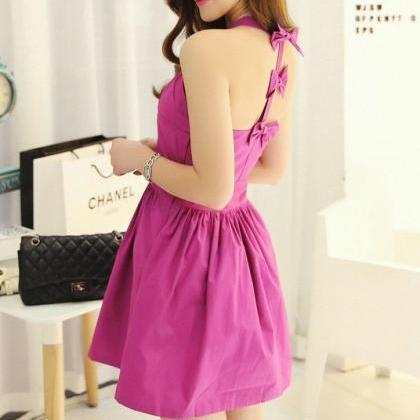 Purple Backless Bow Dress