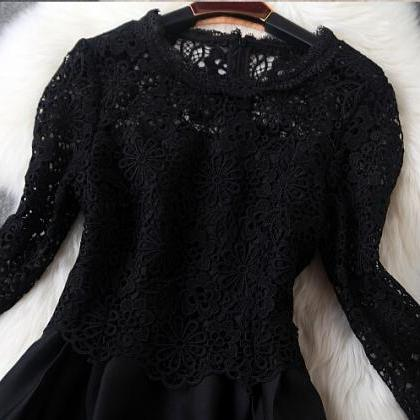 Fashion Round Neck Lace Princess Dr..