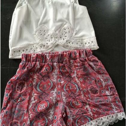 White Lace Stitching Blouse, Red Pr..
