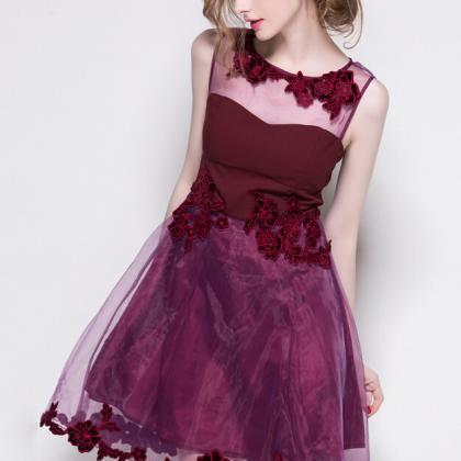 Organza Hollow-Out Floral Embroider..