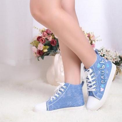 Denim High Top Canvas Sneakers with..