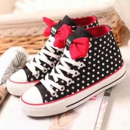 Dot Bow Flat Shoes High-Top Shoes