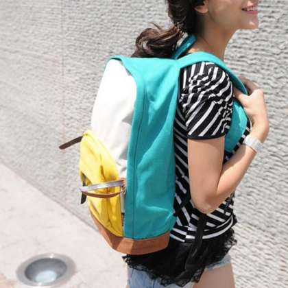 Female student backpack canvas ride..