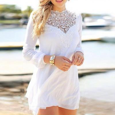 Stitching Lace Chiffon Long-Sleeved Dress