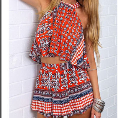 CUTE TOTEM SEXY DESIGN TWO PIECE ROMPER YX