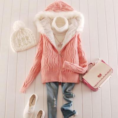 Fashion Hooded Zipper Thickening Cardigan Sweater Coat