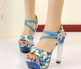 Floral Print Clear High Block Heel Peep Toe Sandal