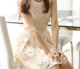 Sleeveless Beige Bodycon Lace Skater Dress Ruffled Skirt Tunique [grzxy6601084]