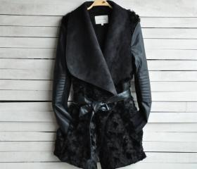 PU Leather Fashion Fur Coat