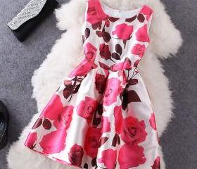 Fashion Rose Printed Sleeveless Dress