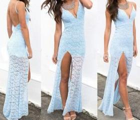 Sexy Lace Halter Dress