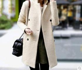 Slim Double-Breasted Wool Coat Woolen Coat