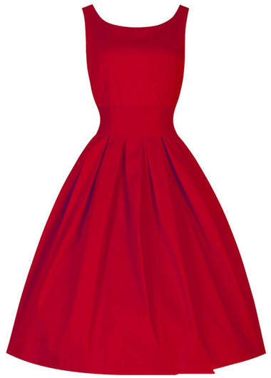 Red Round Neck Sleeveless Midi Skater Dress