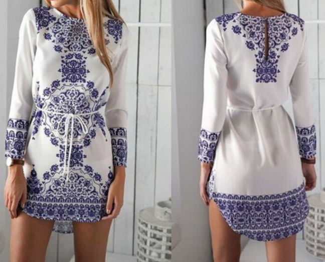 Retro Round Neck Long-Sleeved Printed Dress