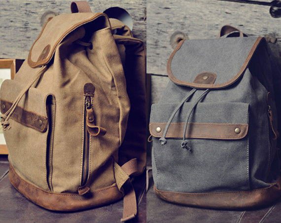 Christmas Gift - Handmade Leather Canvas Backpack Canvas Backpacks Student Canvas Backpack Leisure Packsack---Two Color