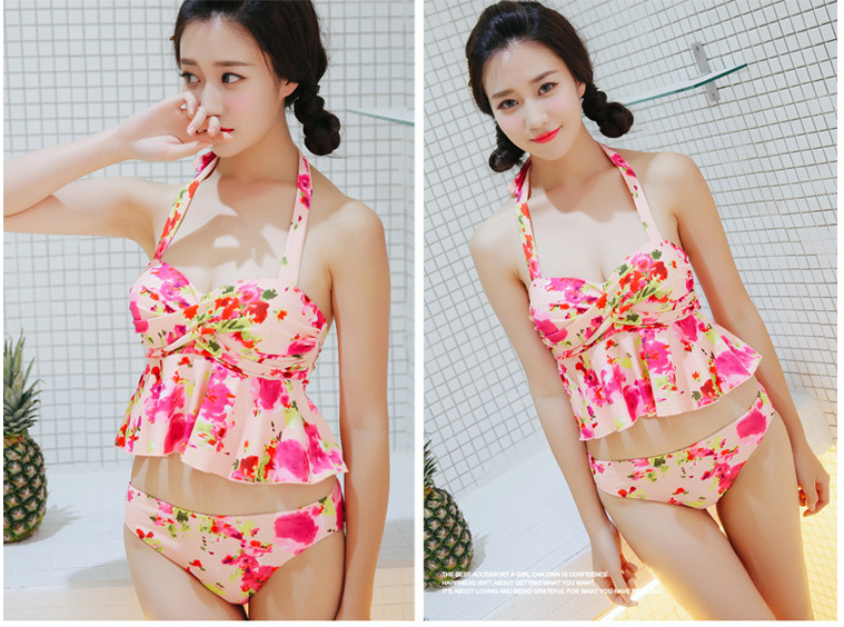 New Fashion Bikini Three-Piece Female Small Breasts Together Steel Body Skirt Swimsuit MQ
