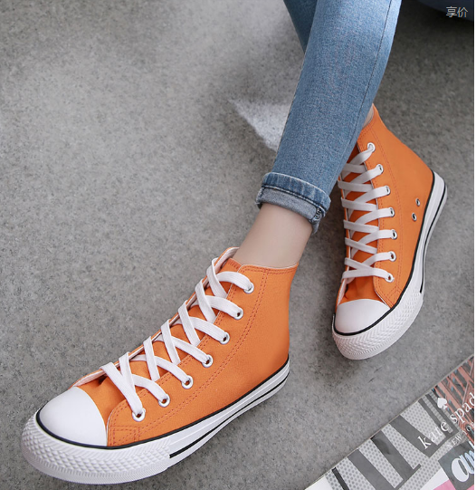 Canvas shoes high students for casual shoes with flat printing AMM