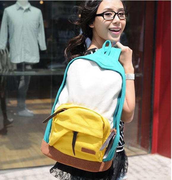 Female student backpack canvas ride travel bag