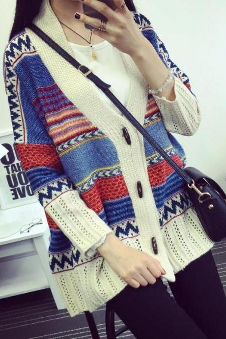 Women's Fashion Bohemia Geometric Horn Button V Neck Loose Casual Knitted Cardigan One Size