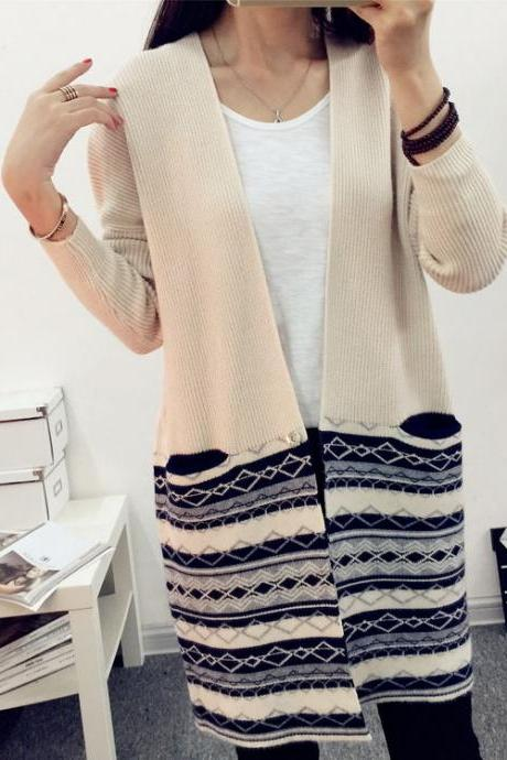 Women's Fashion V Neck Geometric Color Block Loose Casual Knitted Long Line Cardigan One Size