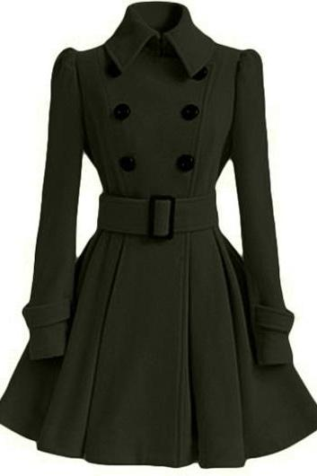 High Quality Long Sleeve Belted Coat