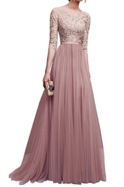 New chiffon evening dress for autumn and winter