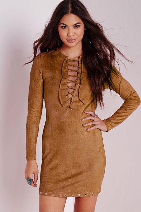 Brown Lace-Up Long Sleeve Mini Dress with Eyelet Detailing