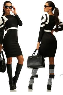 The New Round Neck Long Sleeve Skirt In Geometrical Splicing Pencil Skirt MS