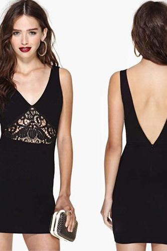 Black Plunge V Sleeveless Mini Bodycon Dress Featuring Lace Cutout and Plunging Back