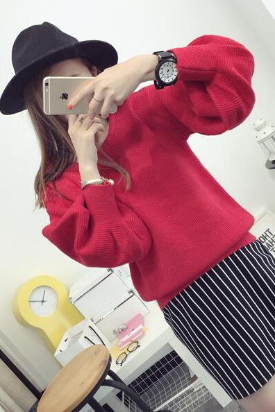 Fashion High Collar Lantern Sleeve Sweater
