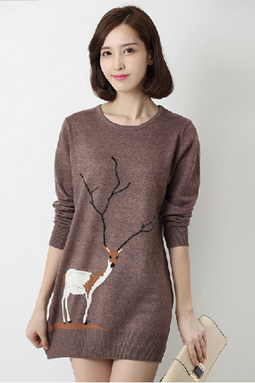 Round Collar Package Buttocks Knit Sweater