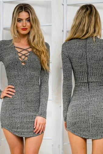 Grey Lace-Up Knitted Long Sleeved Short Bodycon Dress