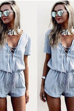Shallow blue v-neck sexy lace-up jumpsuits TY