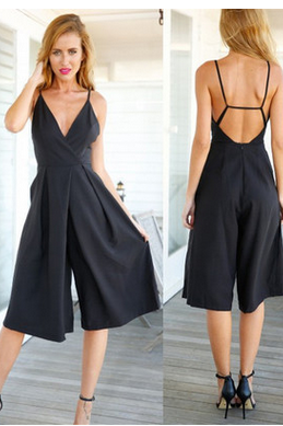 Black condole belt sexy deep v-neck fashion wide-legged pants jumpsuits TY
