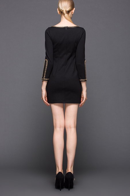 The spring big yards dress metal edge dress Nine points round collar sleeve of cultivate one's morality pure color package buttocks short skirt HL