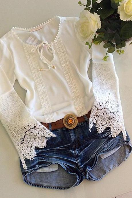 Hollow out lace top shirt