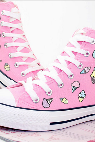 Ice-Cream Print Canvas Lace-Up Sneakers