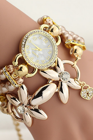 Fashion bracelets table Winding set auger pearl watches the new female students