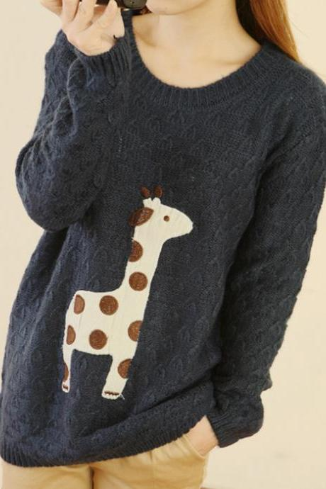 Han edition dress cute round collar patch giraffe and loose version of hollow out long sleeve knit sweater
