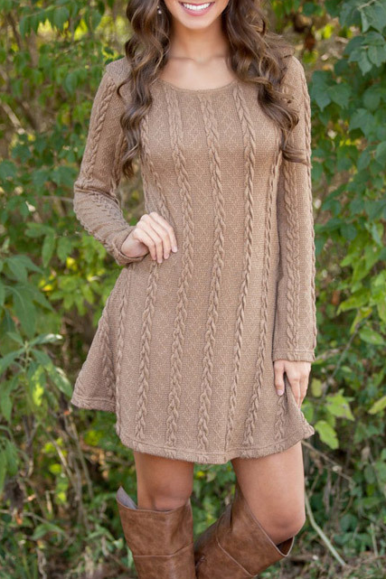 Round collar knitting sweater long-sleeved dress