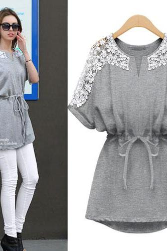 Batwing Sleeve Drawstring Belt Lace Crewneck Blouse Mini Dress