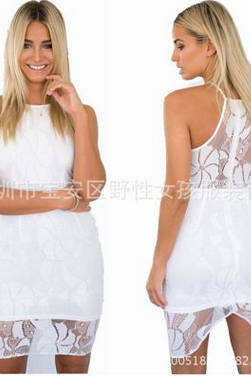 Lace stitching sexy hollow sexy dress
