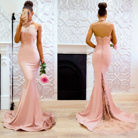 Sexy sleeveless neck gown with a button-down skirt