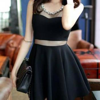Women Black Short Dress Sleeveless