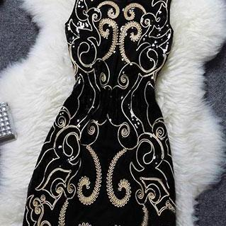 Noble Vintage Sequin Floral Embroidered Sleeveless Party Dress [Ghyxh36121]